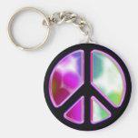 Diseños del signo de la paz del teñido anudado llavero personalizado
