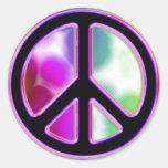 Diseños del signo de la paz del teñido anudado etiquetas redondas