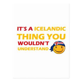 Diseños del smiley de Islandia Tarjeta Postal