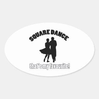 diseños del square dance pegatina ovalada