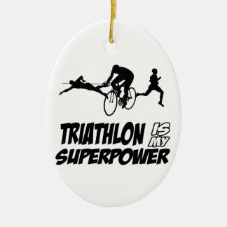 Diseños del Triathlon Adorno Ovalado De Cerámica
