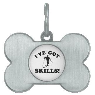diseños del vector de las habilidades del esquí placa de mascota