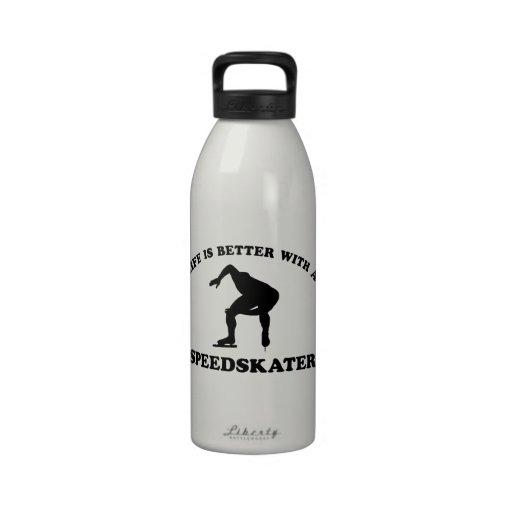 Diseños del vector del patinador de la velocidad botella de agua