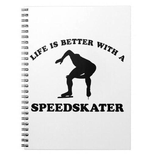 Diseños del vector del patinador de la velocidad libretas espirales