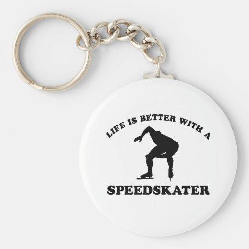 Diseños del vector del patinador de la velocidad llaveros