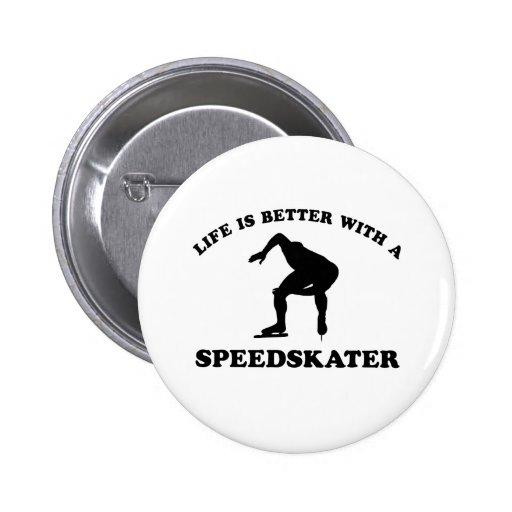 Diseños del vector del patinador de la velocidad pin