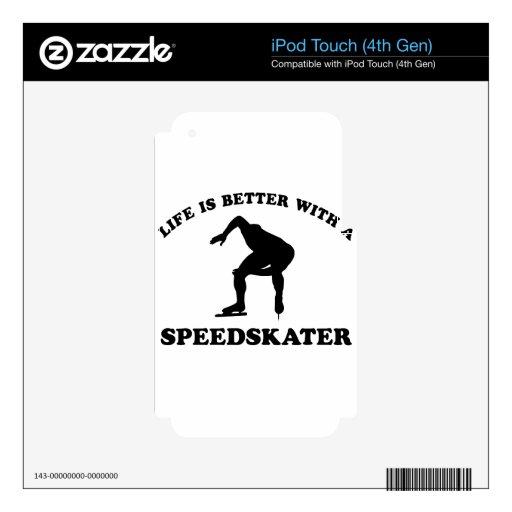 Diseños del vector del patinador de la velocidad iPod touch 4G skins