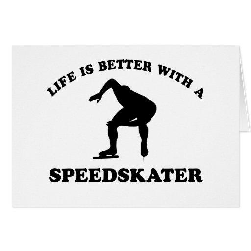 Diseños del vector del patinador de la velocidad tarjeton