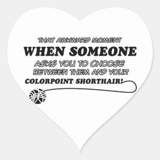 Diseños divertidos de COLORPOINT SHORTHAIR Pegatina En Forma De Corazón