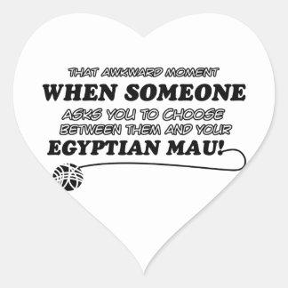 diseños divertidos de Mau del egipcio Pegatina En Forma De Corazón
