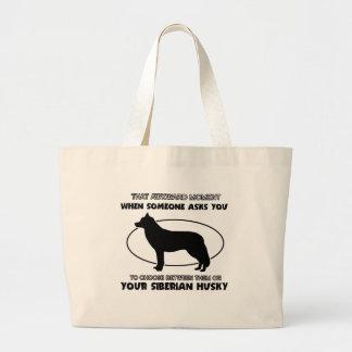 Diseños divertidos del husky siberiano bolsas