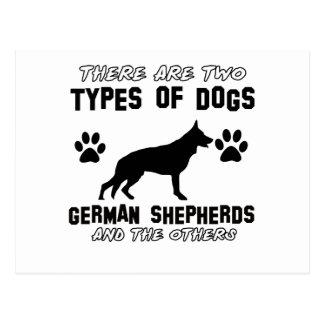 Diseños divertidos del pastor alemán postal