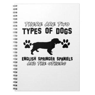 Diseños divertidos del perro de aguas de saltador libreta espiral