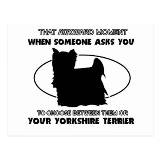Diseños divertidos del terrier de Yorkshire Tarjeta Postal