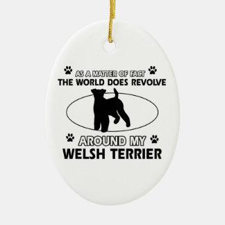 Diseños divertidos del terrier galés adorno navideño ovalado de cerámica