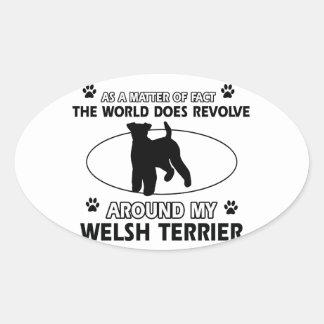 Diseños divertidos del terrier galés pegatina ovalada