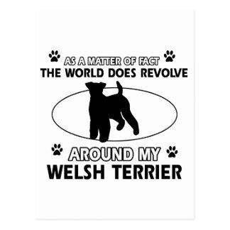 Diseños divertidos del terrier galés tarjeta postal