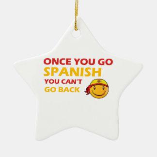 Diseños españoles del smiley adorno navideño de cerámica en forma de estrella
