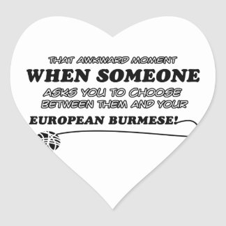 diseños EUROPEOS divertidos del BIRMANO Pegatina En Forma De Corazón