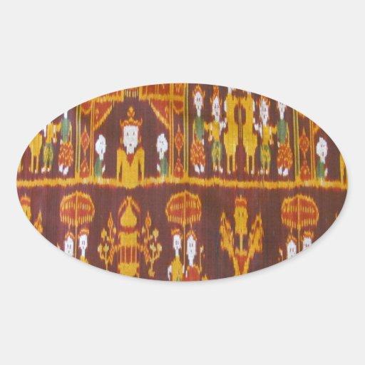 Diseños exóticos de la tela pegatinas ovales