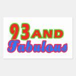 diseños fabulosos del cumpleaños 93and rectangular pegatinas