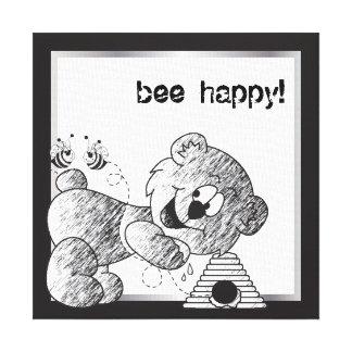 Diseños felices de la lona del oso de la abeja impresión en lienzo estirada