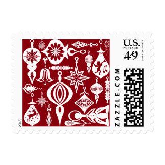 Diseños festivos del ornamento timbre postal