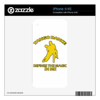 diseños frescos de la danza del tango iPhone 4 calcomanía