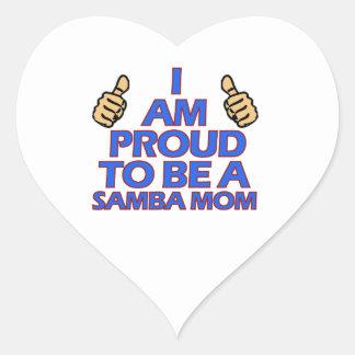 diseños frescos de la mamá de la samba pegatina en forma de corazón