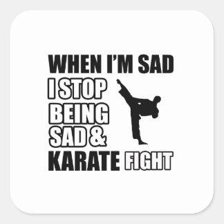 Diseños frescos del karate pegatina cuadrada