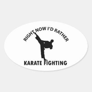 diseños frescos del karate pegatina ovalada
