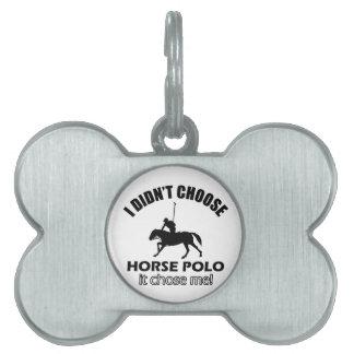 Diseños frescos del polo del caballo placa mascota