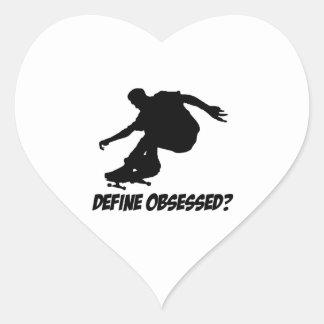 Diseños frescos del Skateboarding Pegatina En Forma De Corazón