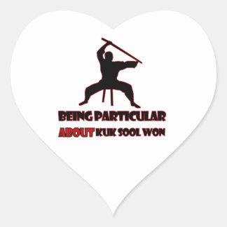 Diseños ganados Sool de Kuk Pegatina En Forma De Corazón