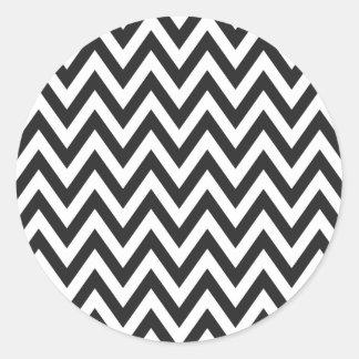 Diseños geométricos blancos del arte del negro del pegatina redonda