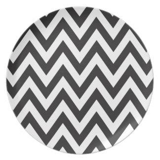 Diseños geométricos blancos del arte del negro del plato para fiesta