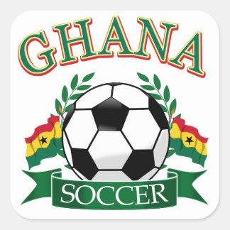 Diseños ghaneses del fútbol pegatina cuadrada