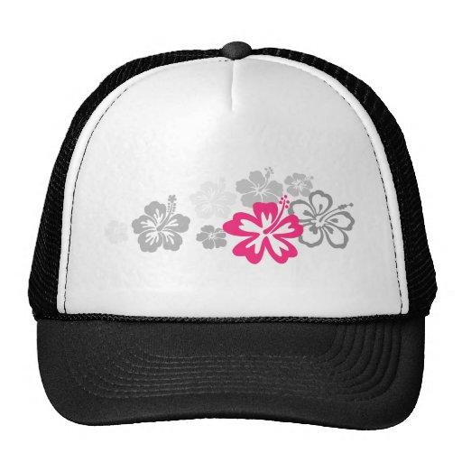 Diseños grises y rosados del hibisco gorras