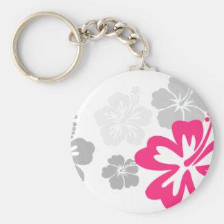 Diseños grises y rosados del hibisco llavero redondo tipo pin