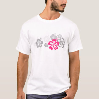 Diseños grises y rosados del hibisco playera