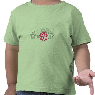 Diseños grises y rosados del hibisco camiseta