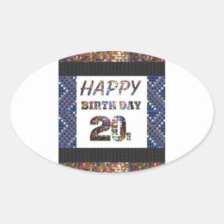 diseños happybirthday del feliz cumpleaños pegatina ovalada