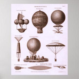 Diseños históricos del globo del aire caliente póster