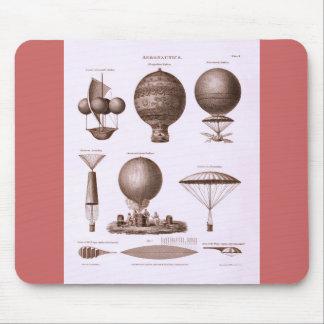 Diseños históricos del globo del aire caliente tapete de raton