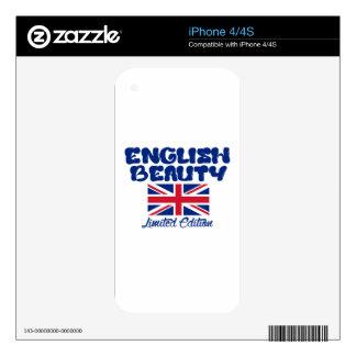 Diseños ingleses de la belleza calcomanía para iPhone 4S