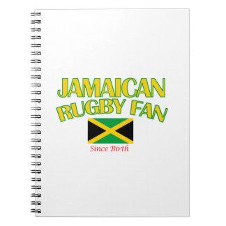 DISEÑOS jamaicanos frescos de la fan del rugbi Spiral Notebooks