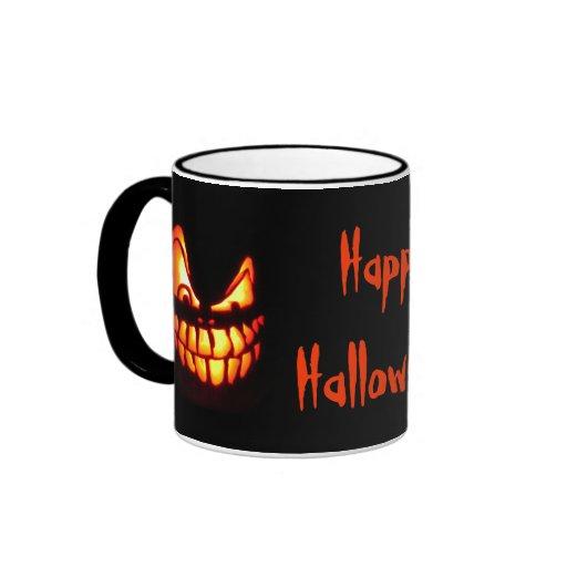 Diseños malvados de la linterna del o de Halloween Taza De Café