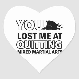 Diseños mezclados de los artes marciales pegatina en forma de corazón