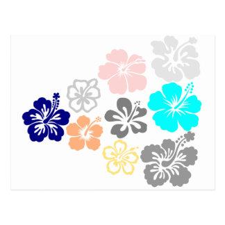 Diseños mezclados del hibisco tarjeta postal