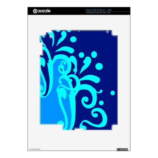 Diseños modernos de la onda azul calcomanía para el iPad 2